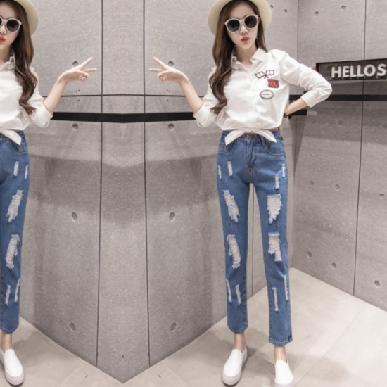 Latest Design Tight Ripped Denim Holes High Waist Jeans Pants-Blue image