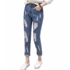Latest Design Tight Ripped Denim Holes High Waist Jeans Pants image