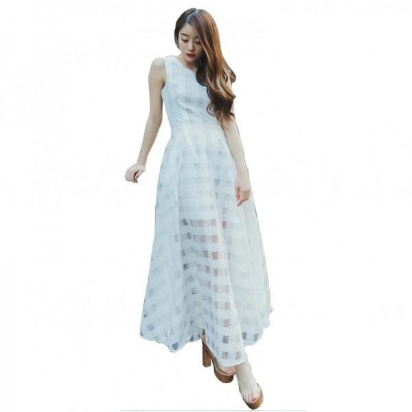 Women White Temperament Summer Beach Long Maxi Dress image
