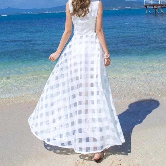 Women Temperament super long organza Beach Long Maxi Dress-White image
