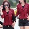 Women Fashion Red Color Leather Casual Jacket image