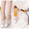 Silver Color Summer Splicing Mesh Pointed Sandals For Women image