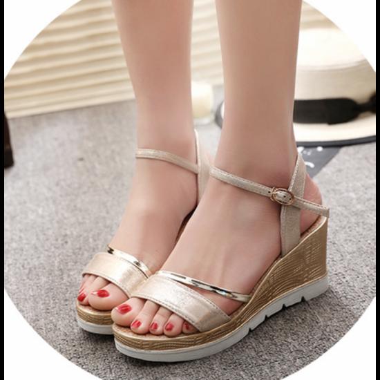Gold Color Summer Fashion Beige Gold High Sandals For Women image