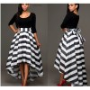 Black Color Lead Two Piece Long Sleeved Triped Skirt For Womens C-34 image
