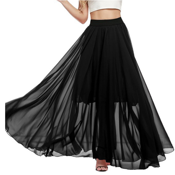 Half Mopping Bohemian Solid Color Chiffon Skirt For Womens C-32BK image