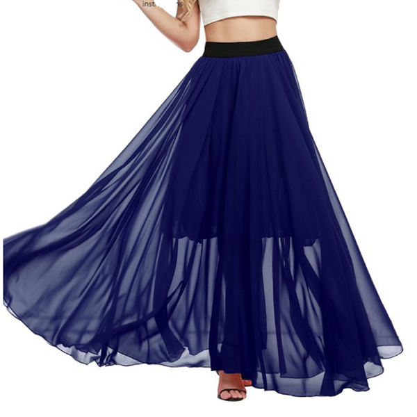 Half Mopping Bohemian Solid Color Chiffon Skirt For Womens C-32BL image