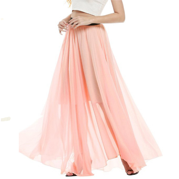 Half Mopping Bohemian Solid Color Chiffon Skirt For Womens C-32PK image