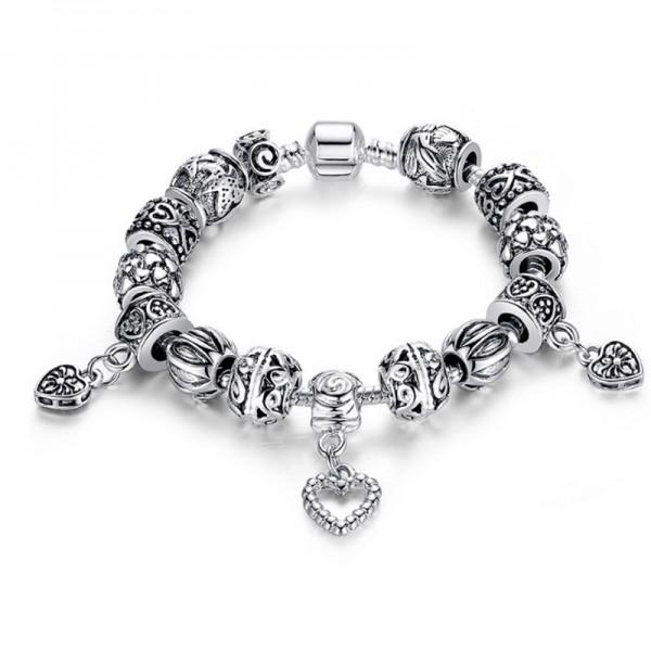 Silver Charm Heart Shape Pendant Ancient Alloy Love Bracelet For Women CB-17 image