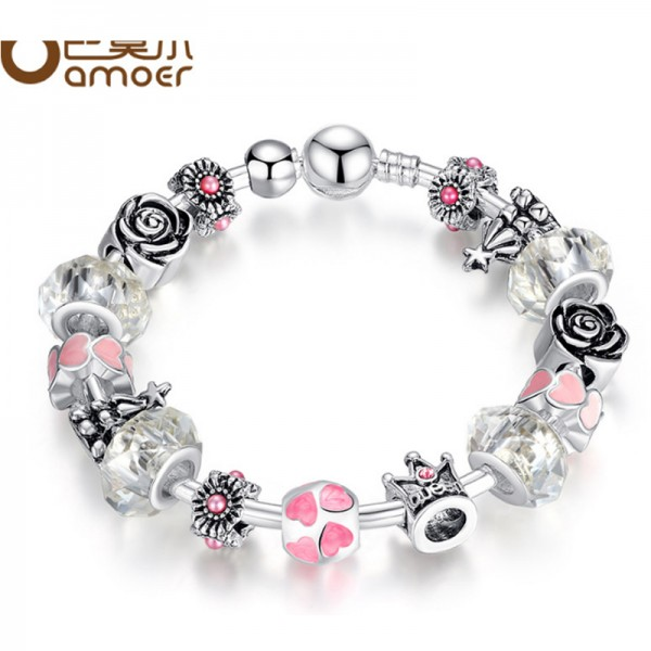Silver Color Glass Beads Personality Alloy Bracelet For Women image