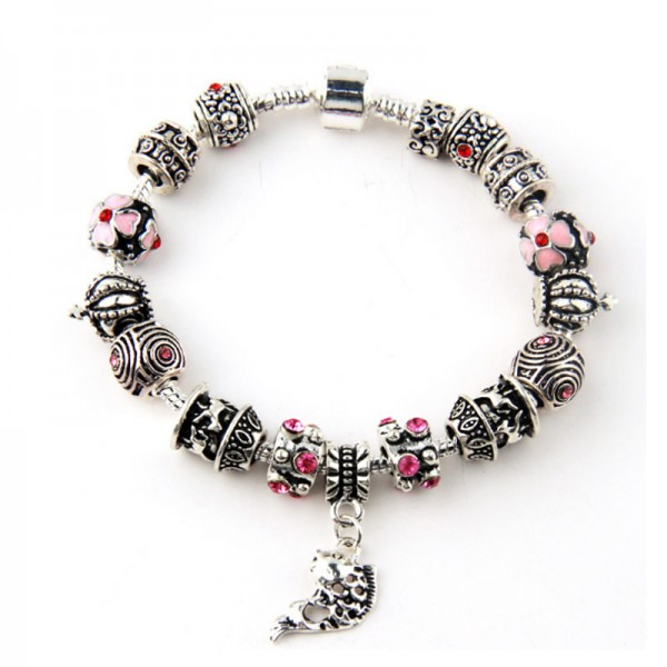 Silver Plated DIY Glass Beads Personality Alloy Bracelet For Women image