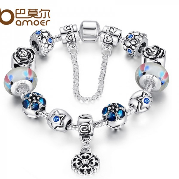 Silver Rhyme Charam Glass Beads Personality Alloy Bracelet For Women CB-09 image