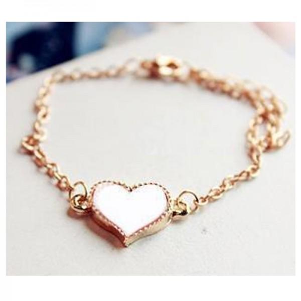 White Color Heart Love Korean Fashion Clover Bracelet For Women B-04W image