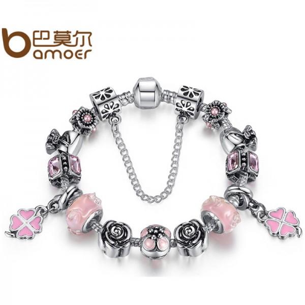 Women Diy Beaded Rhyme Charm Personality Alloy Bracelet CB-07 image