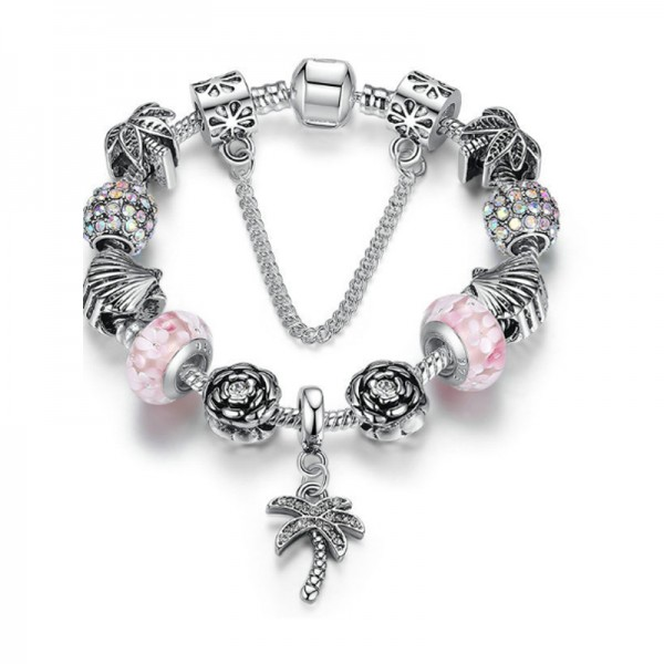 Women Silver Charm Barmo DIYBeaded Personality Alloy Bracelet image