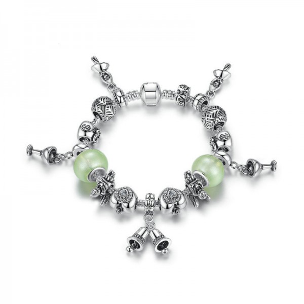 Women Silver Chram Acrylic Beaded Personality Alloy Bracelet CB-12 image