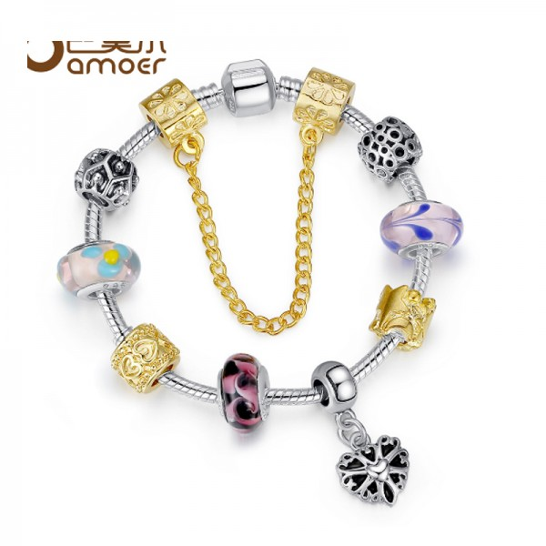 Women Silver Plated Rhyme Charm Glass Beaded Alloy Bracelet CB-05 image