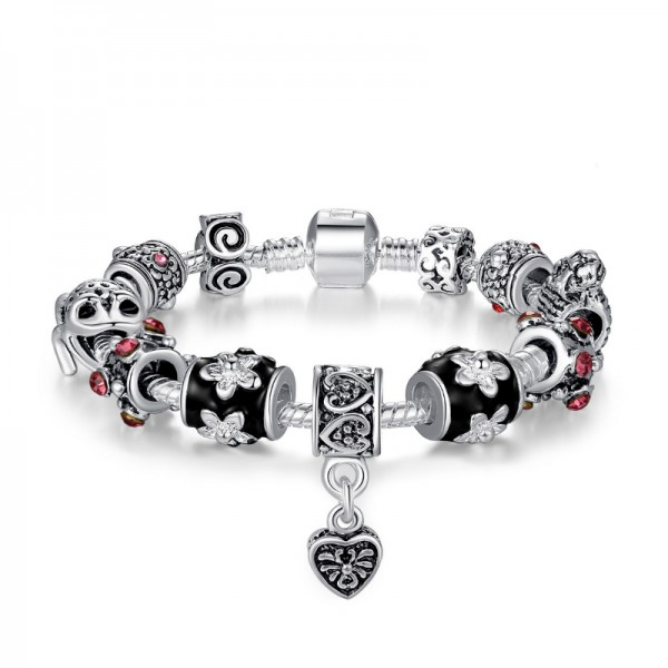 Women Silver Plated Rhyme Charm Personality Alloy Bracelet CB-01 image