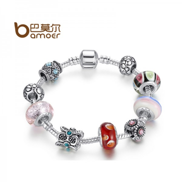 Women Silver Rhyme DIY Macro Charm Diamond Beads Alloy Bracelet CB-06 image