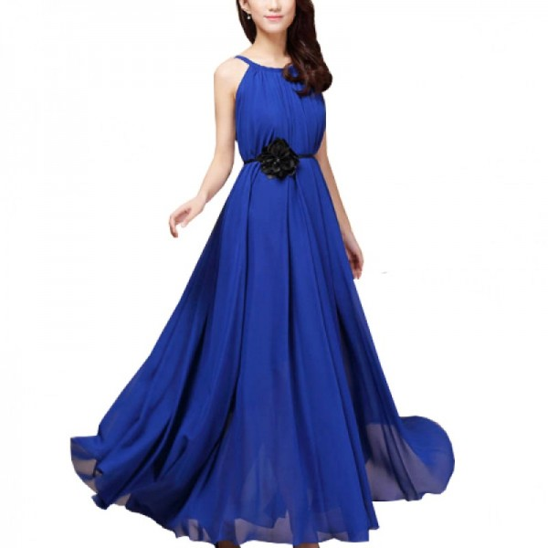 Blue Color Bohemian Beach Maxi Chiffon Dress For Womens C-43BL image