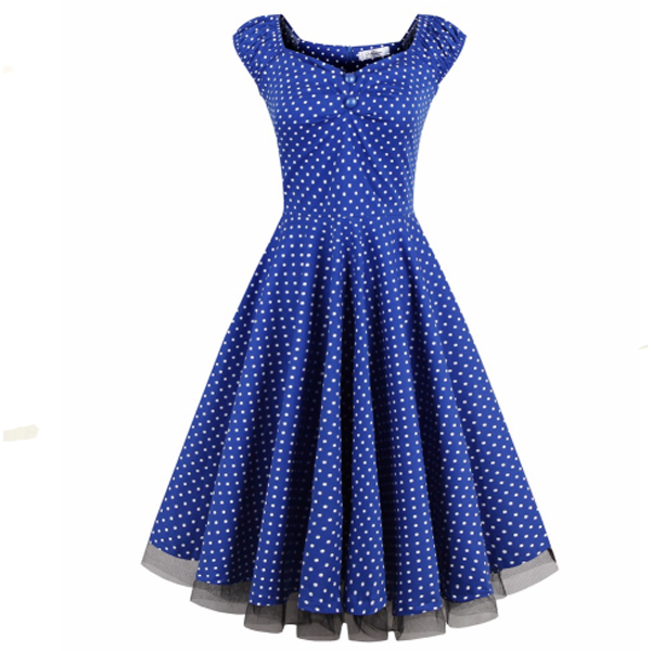 Blue Color Sleeveless Retro Wave Point Banquet Dress For Women image