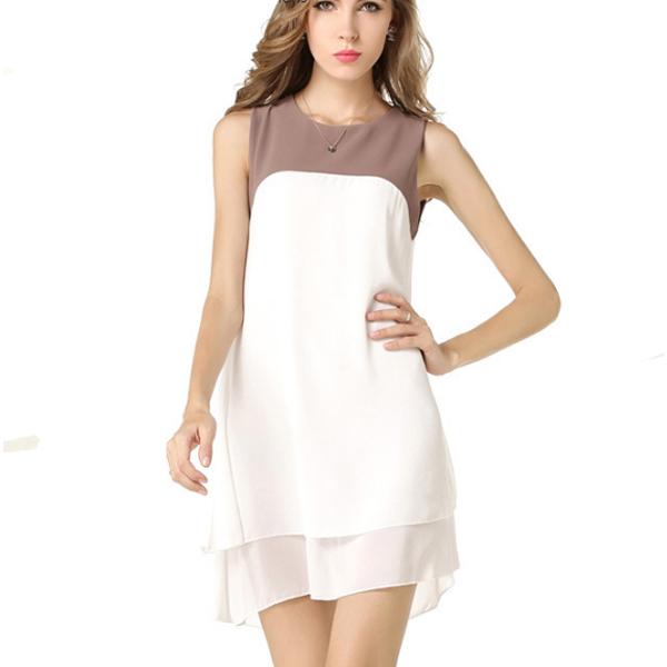 European Fashion Sleeveless Double Color Irregular Women's Chiffon Dress image
