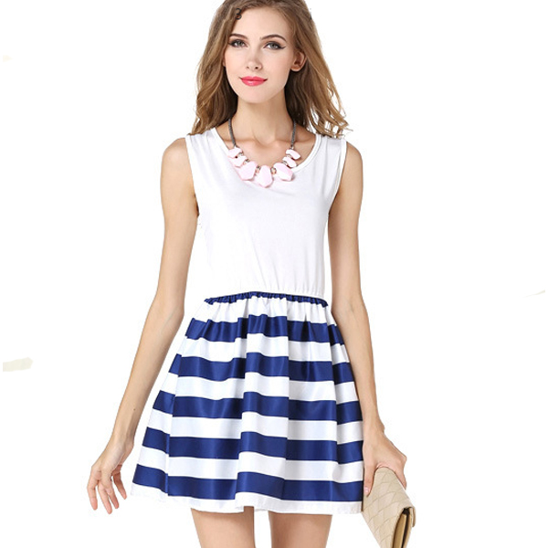 European Fashion Wind Navy Splicing Sailor Striped Cotton Skirt For Womens C-29 image
