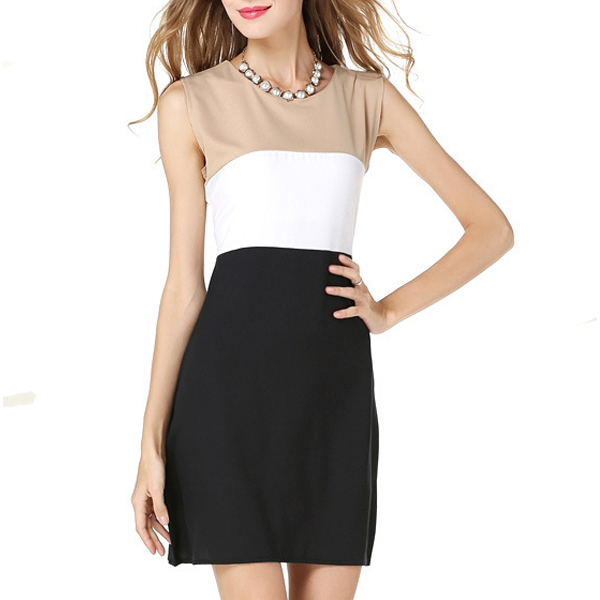 Black with Brown Stitching Sleeveless Vest Blended Women Dress image
