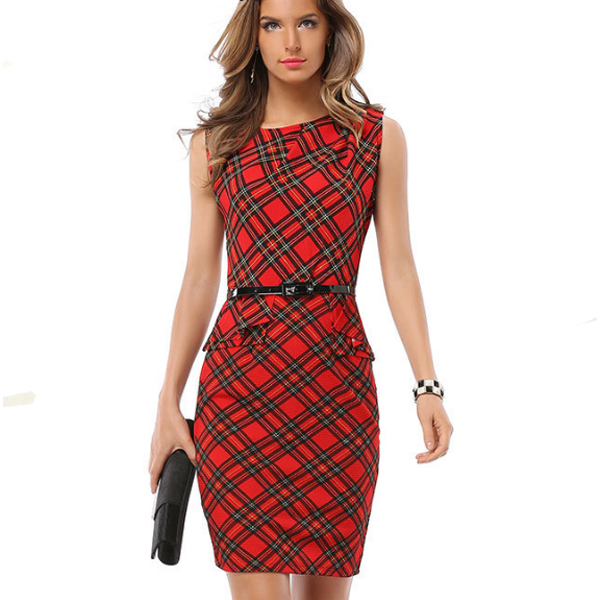 Vintage Tartan Red Plaid Collar Sleeveless Round Neck For Midi Dress For Women C-22|image