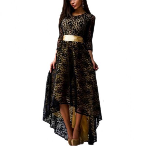 Lace Hem Black Color Asymmetric Maxi Dress For Womens C-44BK image
