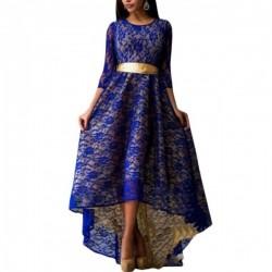 Lace Hem Dark Blue Color Asymmetric Maxi Dress For Womens C-44DB