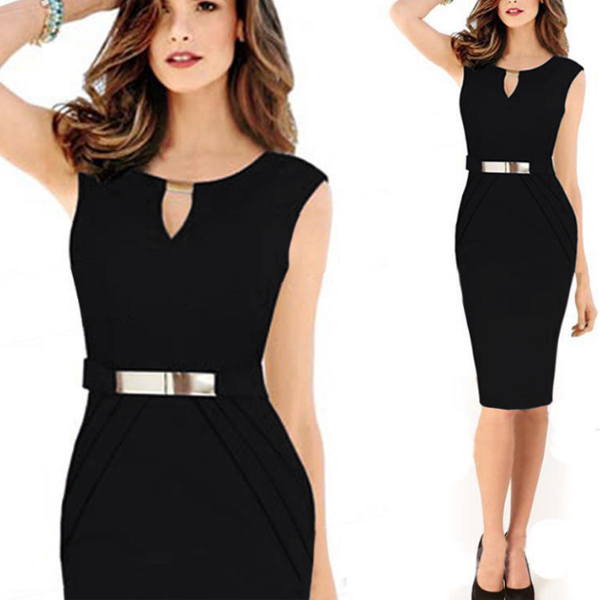 Women Black Pencil with Metal Buckle Small V Collar Midi Dress C-19BK| image