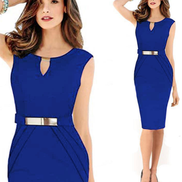 Women Blue Pencil with Metal Buckle Small V Collar Midi Dress C-19BL|image