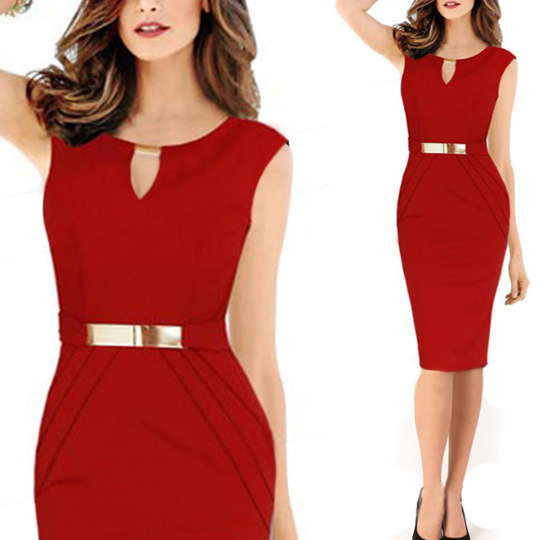 Women Red Pencil with Metal Buckle Small V Collar Midi Dress C-19Rd image