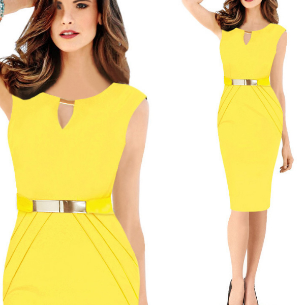 Women Yellow Pencil with Metal Buckle Small V Collar Midi Dress C-19Y|image