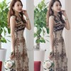 Multi Color Bohemian Beach Print V Collar Dress For Womens C-40 image