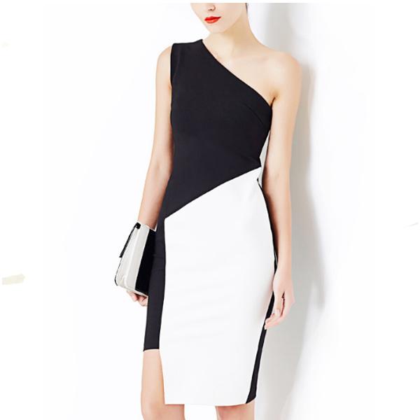 Oblique Shoulder Strapless Slim Thin Buttocks Sleeveless Dress For Women image