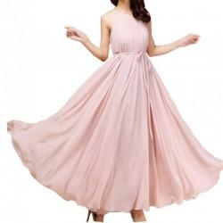 Pink Color Bohemian Beach Maxi Chiffon Dress For Womens C-43PK