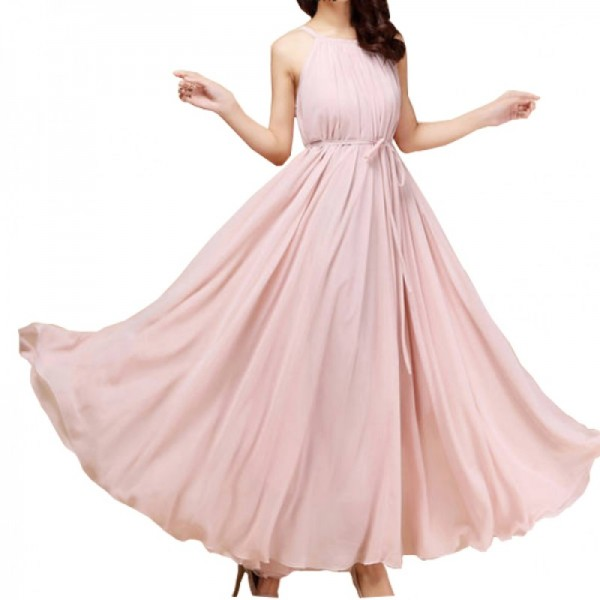 Pink Color Bohemian Beach Maxi Chiffon Dress For Womens C-43PK image