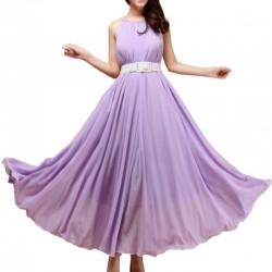 Purple Color Bohemian Beach Maxi Chiffon Dress For Womens C-43PR