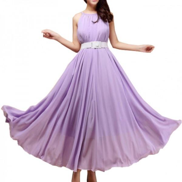 Purple Color Bohemian Beach Maxi Chiffon Dress For Womens C-43PR image
