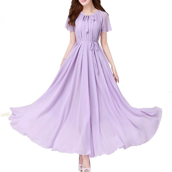 Purple Color Short Sleeves Bohemian Beach Maxi Chiffon Dress For Womens C-42PR image
