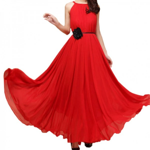 Red Color Bohemian Beach Maxi Chiffon Dress For Womens C-43RD image