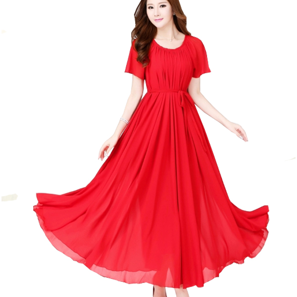 Red Color Short Sleeves Bohemian Beach Maxi Chiffon Dress For Womens C-42RD image