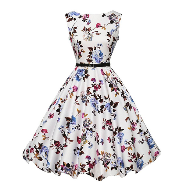 Round Neck Sleeveless Waist Thin Big Belt Floral Dress For Womens C-37 image