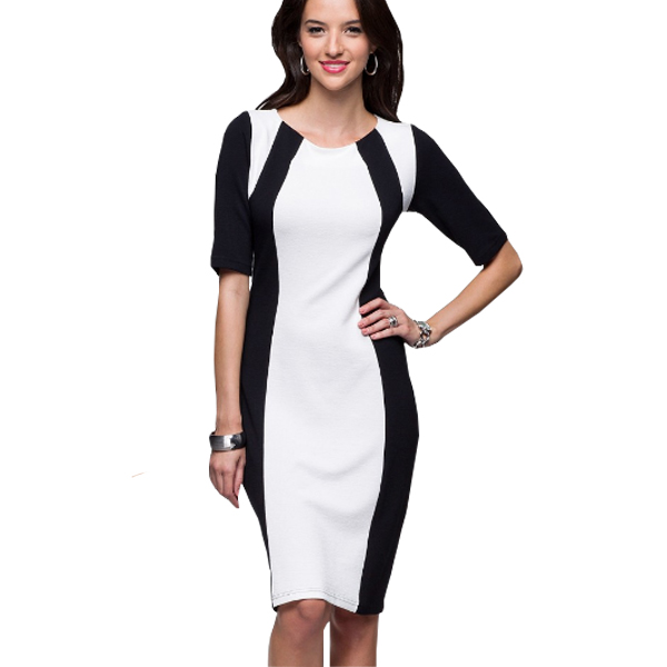 Slim White Color Splicing  Body con Dress For Women's C-04  image
