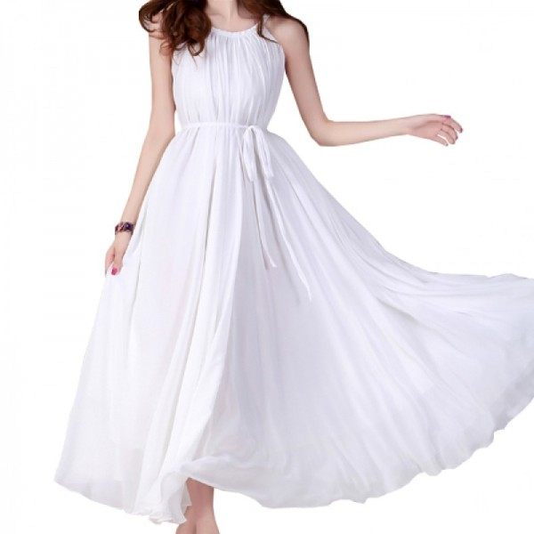 White Color Bohemian Beach Maxi Chiffon Dress For Womens C-43W image