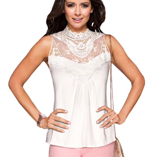 White Color Lace Sleeveless Vest T Shirt For Womens's C-03W image