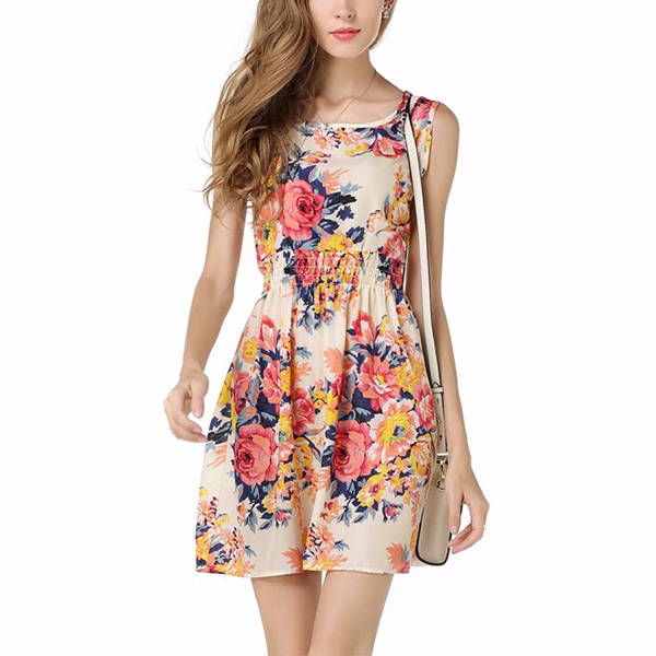 White Sleeveless Round Collar Women's Chiffoon Floral Dress C-09| image