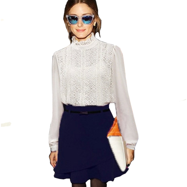 Women Fashion Irregular Stylish Blue Chiffon Half Skirt C-23BL|image