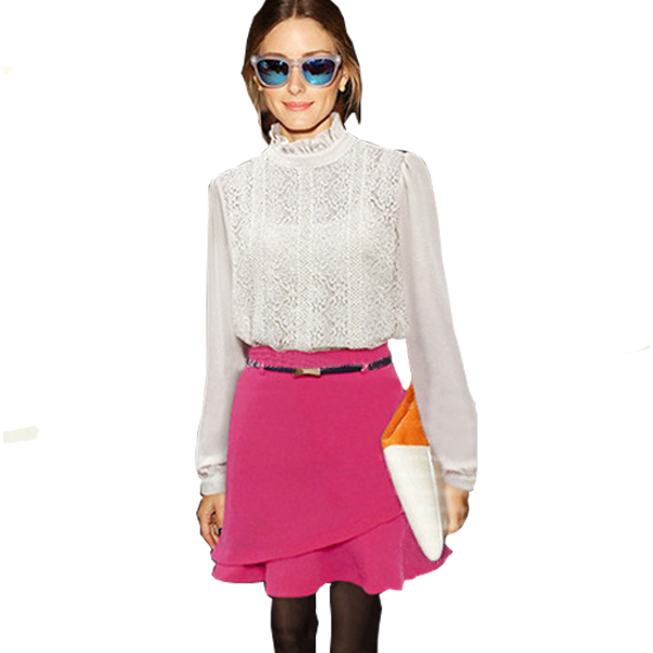 Women Fashion Irregular Stylish Pink Chiffon Half Skirt C-23PK| image